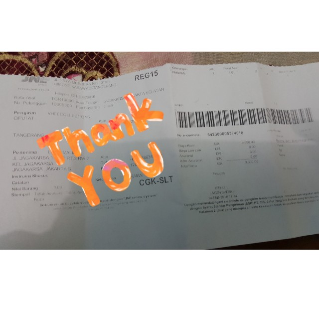 Tq for your order Ms.Lidya..