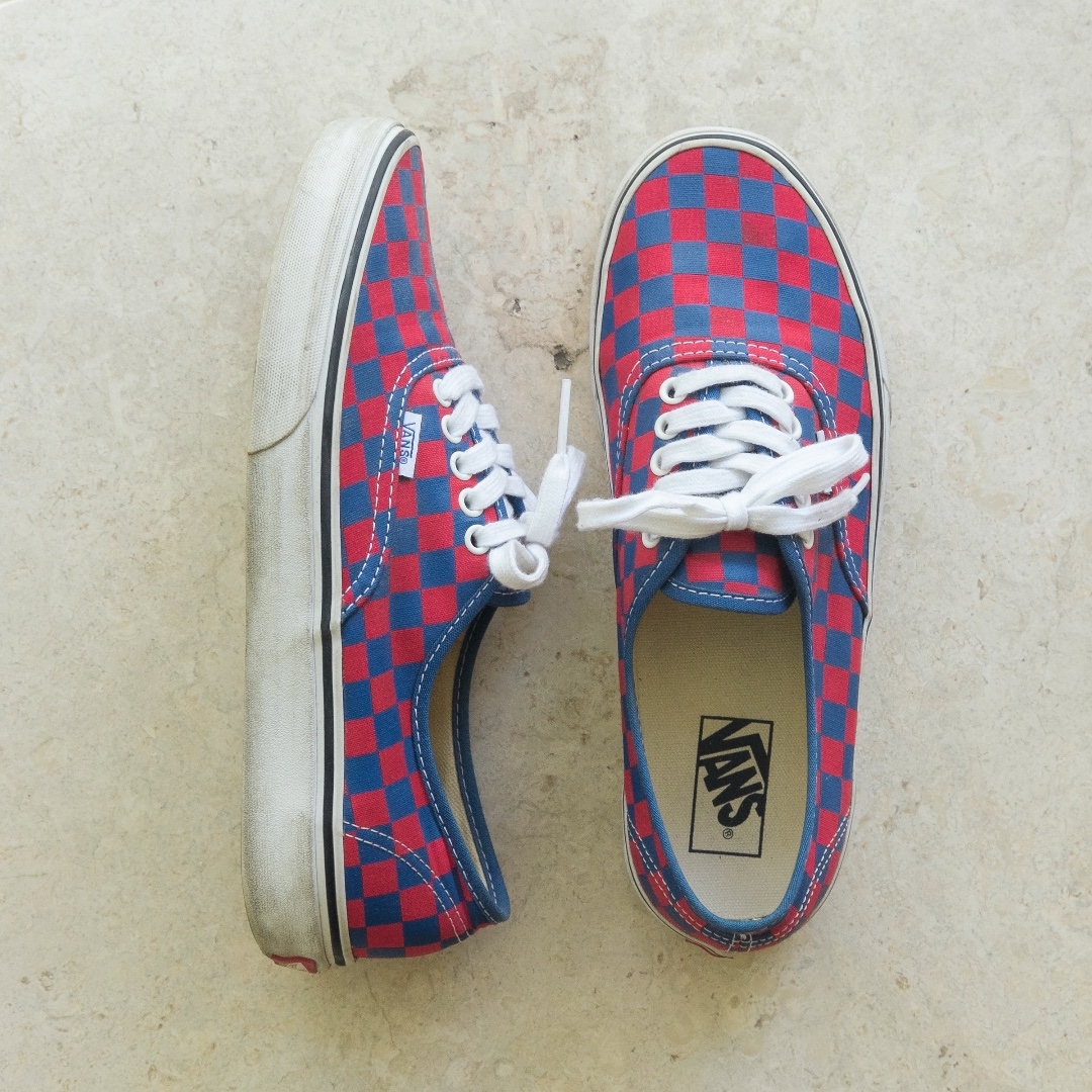 Vans Authentic US 9 Golden Coast Checkerboard Red/Blue