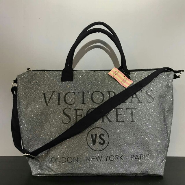 7e5410b6d3d27 Victoria Secret Glitter Tote Bag (Silver), Women's Fashion, Bags & Wallets  on Carousell