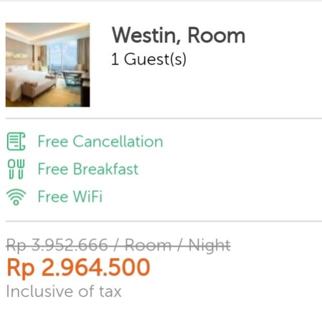 Voucher Hotel Westin Jakarta Cintadiskon Promoimlek Tiket Voucher Kartu Hadiah Voucher Di Carousell