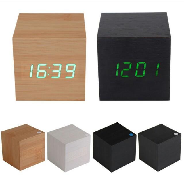 Wooden USB/AAA Powered Digital LED desk alarm clock