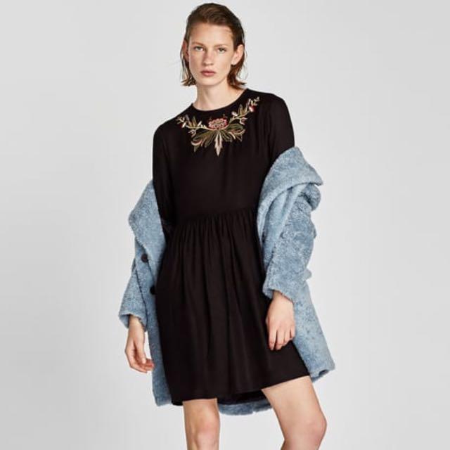 Zara 黑色喇叭袖刺繡洋裝 連身裙