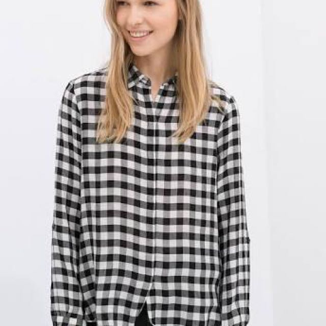 Zara Black & White Plaid Shirt