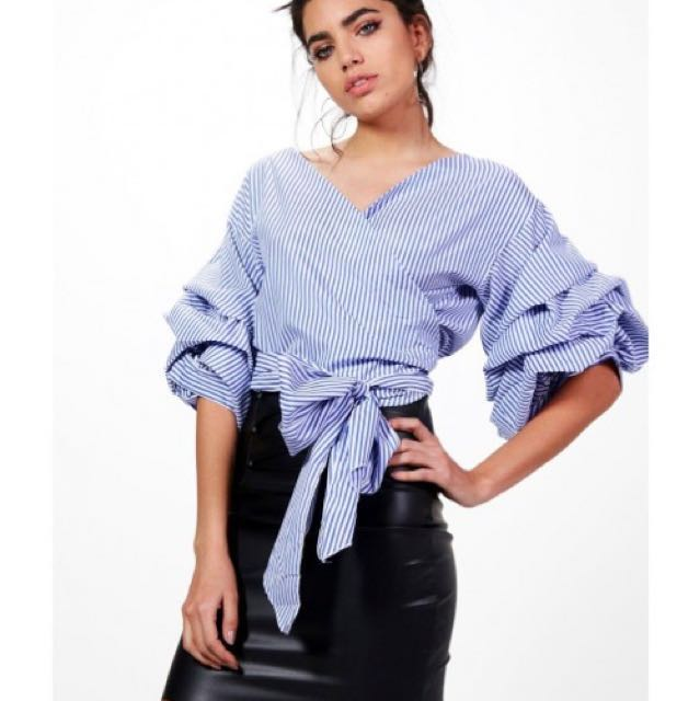 5aff2e7b Zara Inspired Blue Striped Wrap Top, Women's Fashion, Clothes, Tops on  Carousell