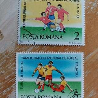 羅馬尼亞1990年法國意大利足球世界盃足球賽已銷郵票