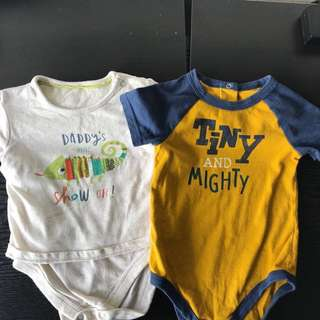 2 good condition Mothercare and  Cat & Jack baby rompers