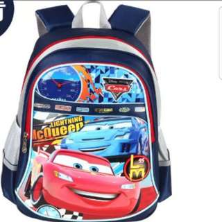 In Stock Mcqueen Cars design school bag haversack backpack for primary 1 to 4 Size 29 × 14 × 41cm
