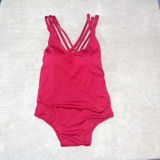 Red Crisscross Back Swimsuit Onesie | Free Size