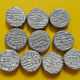 10 COINS LOT - bl02 -  Beautiful vintage Billion Coins Medieval Islamic Persian ( 600 - 1000 Years old ) DELHI JAUNPUR SULTAN  india