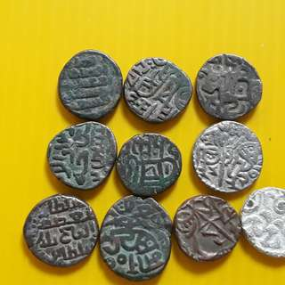 10 COINS LOT - bl04 -  Beautiful vintage Billion Coins Medieval Islamic Persian ( 600 - 1000 Years old ) DELHI SULTAN  india