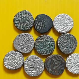 10 COINS LOT - bl05 -  Beautiful vintage Billion Coins Medieval Islamic Persian ( 600 - 1000 Years old ) DELHI SULTAN  india