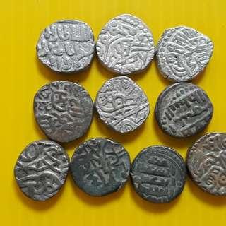 10 COINS LOT - bl06 -  Beautiful vintage Billion (  Silver mixed ) Coins Medieval Islamic Persian ( 600 - 1000 Years old ) DELHI SULTAN  india