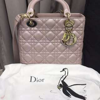 Authentic Lady Dior Medium in Pearl Pink