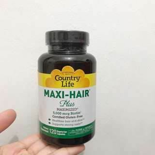 Ready stock Maxi-Hair plus maximized 5000 mcg Biotin 120 vegetarian capsules