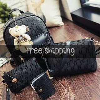 4 in 1 Korean Style Backpack Free Bear Keychain | cute bundle bags
