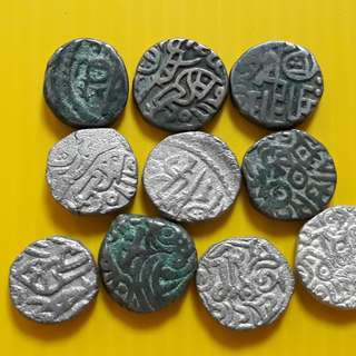 10 COINS LOT - bl08 -  Beautiful vintage Billion (  Silver mixed ) Coins Medieval Islamic Persian ( 600 - 1000 Years old ) DELHI SULTAN  india