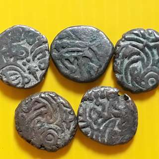 5 COINS LOT - bl10 -  Beautiful vintage Billion (  Silver mixed ) Coins Medieval Islamic Persian ( 600 - 1000 Years old ) DELHI SULTAN  india
