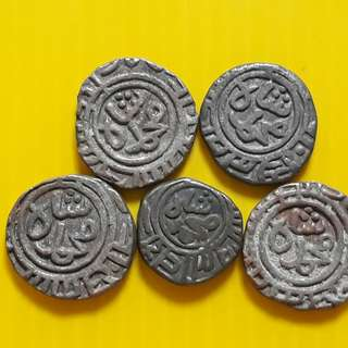 5 COINS LOT - bl11 -  Beautiful vintage Billion (  Silver mixed ) Coins Medieval Islamic Persian ( 600 - 1000 Years old ) DELHI SULTAN  india