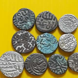 10 COINS ALL DIFFERENT KINGS LOT - bl13 -  Beautiful vintage Billion (  Silver mixed ) Coins Medieval Islamic Persian ( 600 - 1000 Years old ) DELHI SULTAN  india