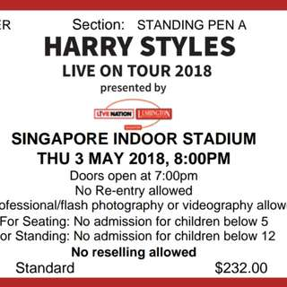 Harry Styles 2018 Singapore Concert Ticket