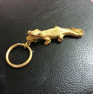 Gold crocodile keychain