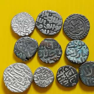 10 COINS ALL DIFFERENT KINGS LOT - bl14 -  Beautiful vintage Billion (  Silver mixed ) Coins Medieval Islamic Persian ( 600 - 1000 Years old ) DELHI SULTAN  india