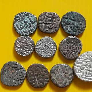 10 COINS ALL DIFFERENT KINGS LOT - bl15 -  Beautiful vintage Billion (  Silver mixed ) Coins Medieval Islamic Persian ( 600 - 1000 Years old ) DELHI SULTAN  india
