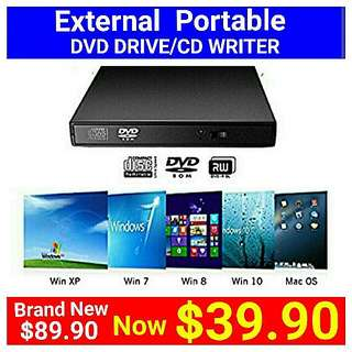 Brand New DVD EXTERNAL DRIVE/CD BURNER by VicTsing. Usual Price: $ 89.90. Special Price: $39.90 + Free Mail Postage ( Brand New In Box &  Sealed) whatsapp 85992490 to collect today now