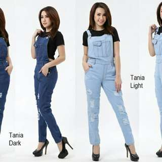 TANIA OVERALL JEANS  Overall sobek + lapis (tdk tembus kulit) bhn jeans washed, fit to L