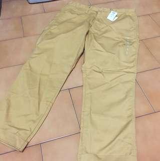 早期GU 上寬下窄 黃色工作褲 尺寸L 全新商品