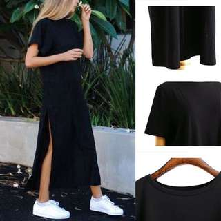 [PO] Casual Women Slit Black Dress