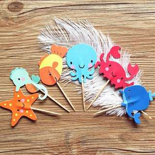 12 pcs Sea Creatures Underwater Ocean Cupcake Toppers Cake Topper Muffin Decoration Baking Picks Birthday Party