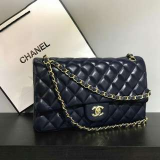 Chanel Lambskin Navy Blue with Gold Hardware
