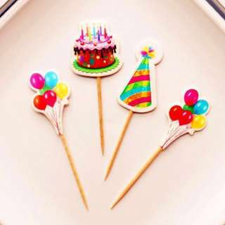 9 pcs Birthday Party Hat Cupcake Toppers Cake Topper Muffin Decoration Baking Picks