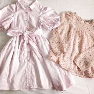 3-4 years old girls: dress and blouse