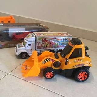"Bundle Big car toys for sale ""Bull dozer , Lorry Box, Racing car , dump truck"