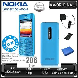 Original Nokia Asha 206 Refurbished Unlocked Bar Phone ( LIGHT BLUE ) - CASH ON DELIVERY!