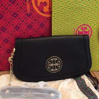 美國專櫃 Tory Burch Britten Leather Flap Clutch Bag 經典長興款