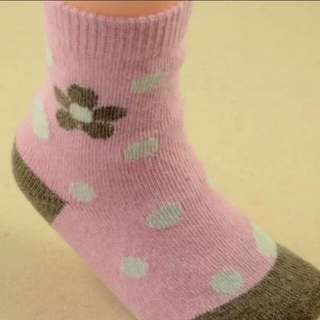 [Juniorcloset] 🆕 Pink flora rabbit fur thermal socks size 16-18 (Medium-length) Winter Ski