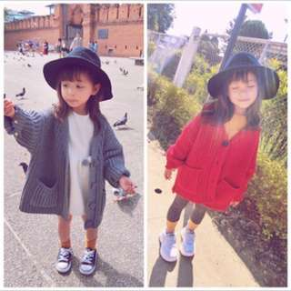 🚚 春夏新款 韓版兒童粗針織開釦毛線外套