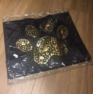 Huge Black & Gold Shiny Paw Cute Tote Bag Eco Bag