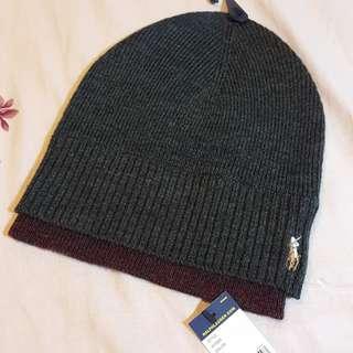 Polo Ralph Lauren 雙色羊毛帽灰色酒紅色 刺繡商標