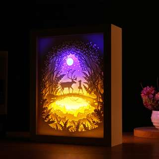 DIY Lighted Paper Art Frame - Elk White Wood Frame