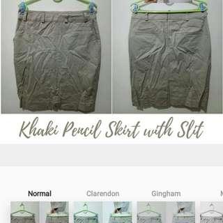 Khaki Pencil Skirt (with back slit)