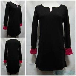 🚚 {就是愛二手} 韓國a.g plus 黑/桃紅配色 針織面料內刷毛設計 雙口袋長版 長袖針織衫 罩衫 上衣 全新超值推薦
