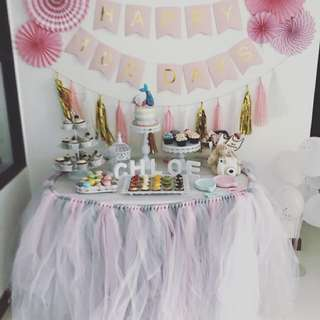 Tutu for dessert table for rental (pink grey)