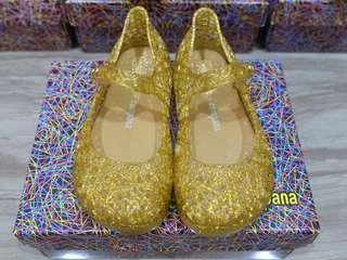 BNIB: US8 Mini Melissa Campana Zig Zag Clear Gold Glitter