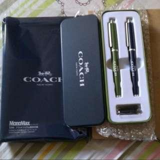 Coach原子筆 + 鋼筆(包兩支墨水筆芯) + 筆盒    生日禮物