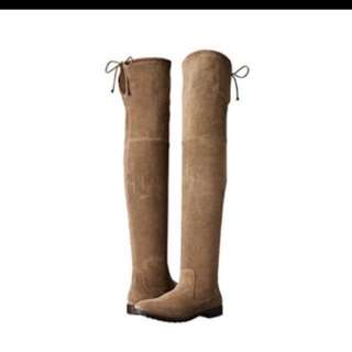 Over the knee OTK suede boots - size 7.5W, taupe