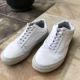 All-White Leather Vans Old Skool